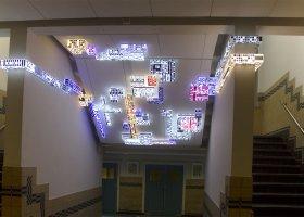 dominIoN-m14, Lichtinstallatie-object, plexiglas, led en sticker.